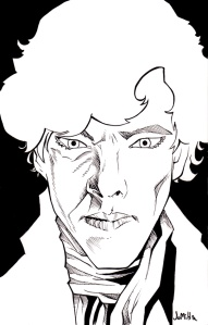 """""""Sherlock"""" 5x8 pen and ink on bristol- $30 PPD US"""
